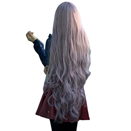 Pixnor Nouveau mode femmes Lady Long bouclés cheveux ondulés complet Perruques Cosplay Party Anime Lolita perruque 100cm (Taro pourpre)