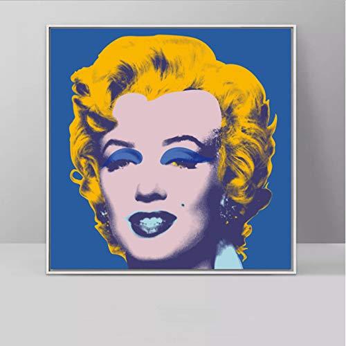 yhnjikl Arte Decorativo Marilyn Monroe Multi Colores de Andy Warhol Láminas artísticas Cuadros para Retratos Arte para Sala de Estar Decoración para el hogar 50X50 cm sin Marco