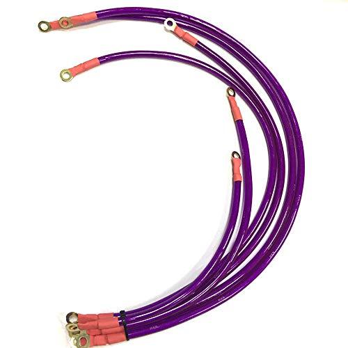 VVU Cable de batería Cable de batería Cable de Tierra con terminales de Anillo Servicio Pesado, modificación del Cable de alimentación Cable Reforzado, Cable de Control 6 Cables