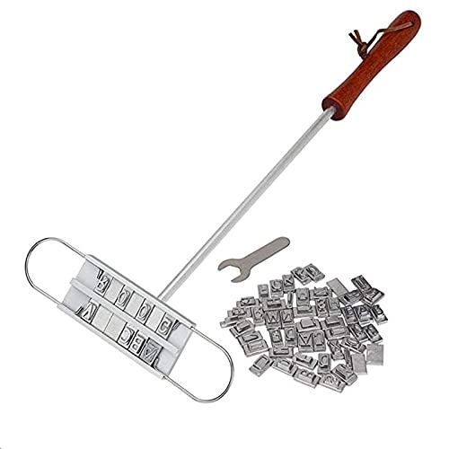 Plancha para marcar barbacoa con 55 letras intercambiables, marcadores de comida para asar personalizados, herramientas para marcar carne al aire libre para marcar filetes, hamburguesas, pollo