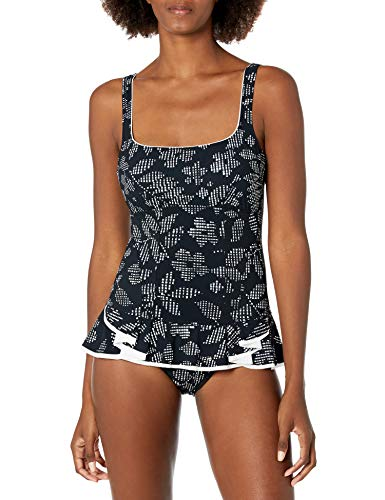 Profile by Gottex Women's Peplum Scoop Neck One Piece Swimsuit, Pepita Black/White, 12