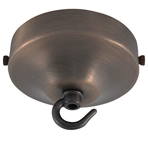 ElekTek Konkave Deckenrosette Durchmesser 100 mm mit Haltebügel und Haken - Für Hängeleuchten und Kronleuchter - Ausführung in Metall und Pulverbeschichtung