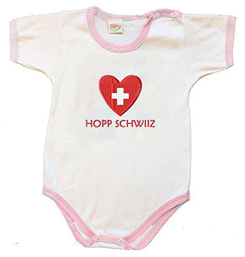 Zigozago - Body Bébé à Manches Courtes avec Broderie Suisse Taille: 9 Mois - Couleur: Rose