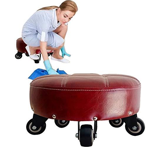Ronde kruk laag klein met draaibaar 5 wielen voetenbankje spons comfortabel mobiel moderne woonkamer krukken bijzetstoelen bank lounge kuipstoelen voor thuis werken 33 * 16cm