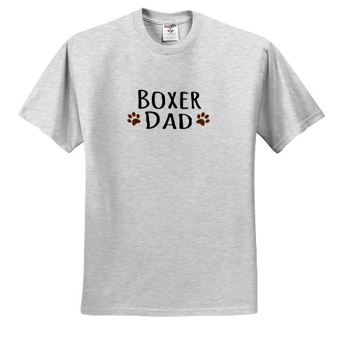 3dRose InspirationzStore Pet Designs - Boxer Dog Dad - Doggie by Breed - Brown Muddy paw Prints Love - Doggy Lover - Proud pet Owner - Adult Birch-Gray-T-Shirt Large (ts_153872_20)