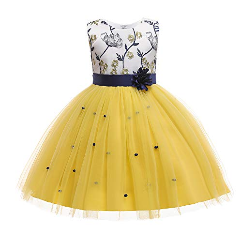 Pageant Dresses for Juniors Girls Party Birthday First Communion Feast Tutu Ball Gown Flower Dresses Elegant Kids Fall A Line Bodice Lace Midi Dress Size 3 4 Years (Yellow 110)