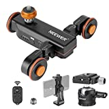 Neewer 3-Wheels Motorized Camera Video Auto Dolly Car with Wireless Remote 3 Speed Adjustable+Low-Profile Ball Head+Rotatable Smartphone Clip for DSLR Camera Camcorder Gopro iPhone and Samsung Phones