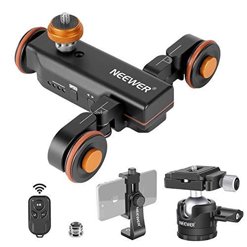 Neewer 3-Rollen Motorisierte Kamera Video Dolly mit drahtlose Fernbedienung 3 Fach verstellbar + Low-Profil Kugelkopf + drehbare Klammer für DSLR Kamera Gopro iPhone und Samsung Handys