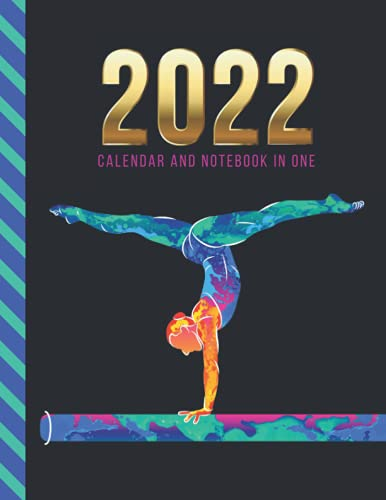 2022 Calendar and Notebook In One: 8.5x11 Monthly Planner with Note Paper Combo / Neon Watercolor Gymnast on Beam - Sports Art / Large Organizer With ... Ruled Lined Sheets / Life Organizing Gift