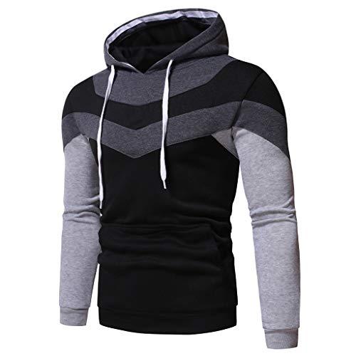 Hoodie Sweatshirt Top T-Shirt Outwear Bluse Männer Herbst Langarm Patchwork Hooded (M,6Grau)