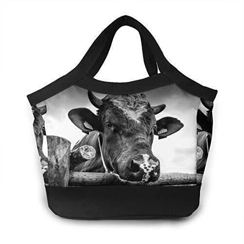 Valla de madera de vaca para mujer, bolsa de almuerzo portátil, bolsas de mano aisladas a prueba de fugas, caja térmica enfriadora para trabajo escolar picnic