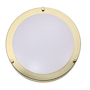 Cloudy Bay LED Flush Mount Ceiling Light,10 inch,17W(120W equivalent) Dimmable 1150lm,4000K Cool White,Polished Brass Round Lighting Fixture For Kitchen,Hallway,bathroom,Stairwell