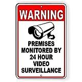 PotteLove CDYSKJCO - Señal de advertencia de metal con señal de advertencia para locales supervisados por 24 horas de videovigilancia de metal para garaje, motel parque, carretera, área pública S02