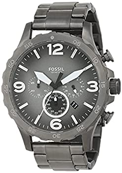 Fossil Men s Nate Quartz Stainless Steel Chronograph Watch Color  Smoke  Model  JR1437
