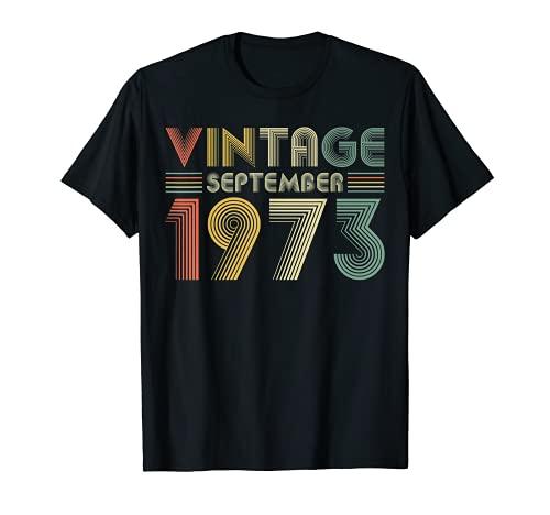 Camiseta de 46 cumpleaños retro vintage septiembre de 1973 Camiseta