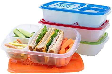 EasyLunchboxes - Bento Lunch Boxes - Reusable 3-Compartment Food Containers for School, Work, and Travel, Set of 4, Classic