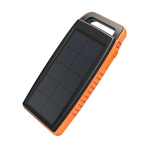 RAVPower 15000mAh Solarladegerät Powerbank Externe Akku mit 2 iSmart USB-Anschlüsse, 2...