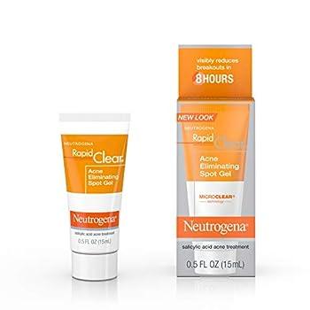 Neutrogena Rapid Clear Acne Eliminating Spot Treatment Gel with Witch Hazel and Salicylic Acid Acne Medicine for Acne-Prone Skin 0.5 fl oz