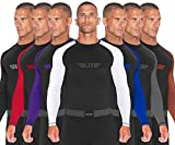 Elite Sports Langarm-Kompression, MMA, BJJ, No Gi, Cross-Training, Rashguard, XXL, Weiß