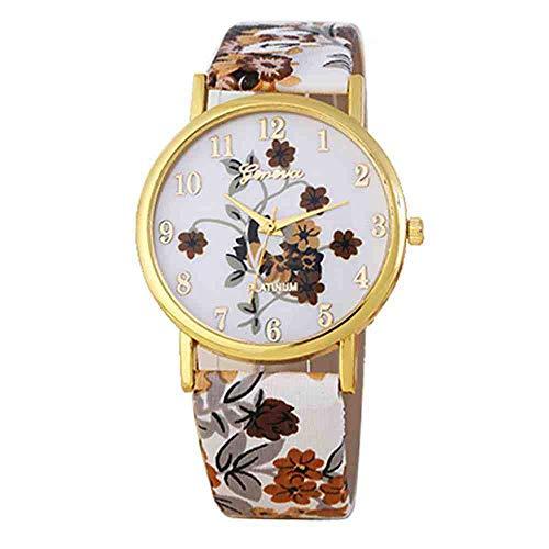 OLUYNG Armbanduhr Luxusuhr Frauen Blumen Mission Frauen Farbige Diamant PU Leder Uhren Quarzuhr Bajan kol i @F
