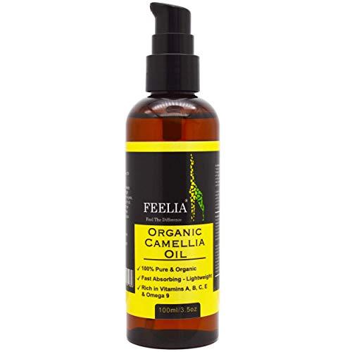 Feelia - Organic Camellia Oil - Cold Pressed, Rich in Vitamins A, B, C, E & Omega 9, Fast Absorbing - Lightweight, 100% Pure & Organic