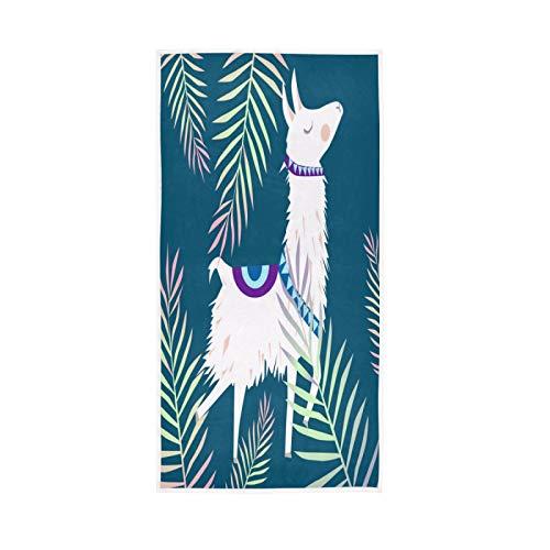 LUCKYEAH - Toallas de mano de algodón con diseño de alpaca con ilustración de alpaca para niñas, mujeres, niños, toallas de mano suaves y absorbentes para el hogar, hotel, piscina, gimnasio,