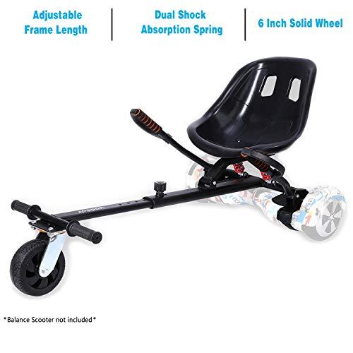 """yabbay Hover Go Karts Attachment con seggiolino con Sospensione Posteriore e Grande Ruota Stabile,overkart Compatibile with hoverbord 6.5"""", 8"""", 10"""""""