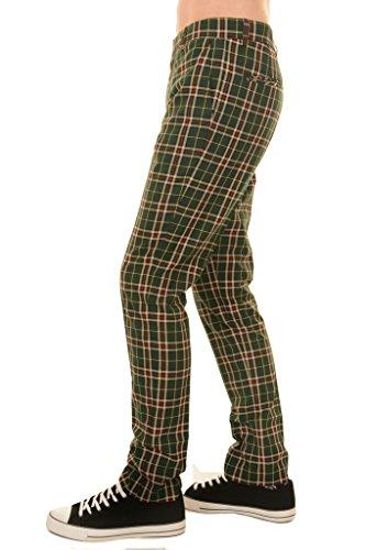 Run & Fly Hombre Años 60 Vintage Retro Mod Cuadros Tartán Verde Ajustado Ajuste Pantalones