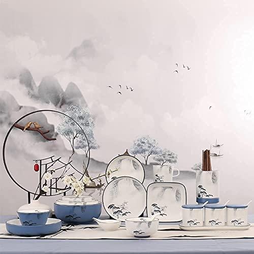 CCAN Juego de vajilla de 56 Piezas, Juego de vajilla de Porcelana China de Hueso con Platos, Cuencos y Plato, Juego de Cena de cerámica Estilo Tinta China para la Cocina y el Comedor del hogar, Apto