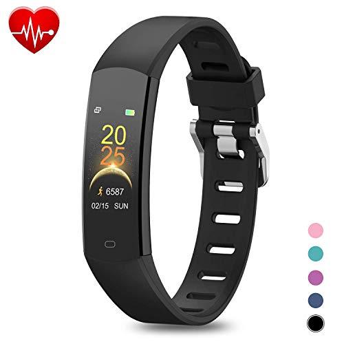BingoFit Fitness Armband Kinder Uhr mit Pulsmesser, Wasserdicht GPS Fitness Tracker Farbbildschirm Aktivitätstracker Schrittzähler Uhr mit Stoppuhren für Damen Herren Kinder