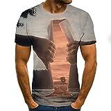 yyqx container T-Shirt à Manches Courtes EIN Baum in der Ferne mit Hand zerreißen Landschaft T-Shirt männlich 3DT-Shirt kurzärmeligen Rundhals Digitaldruck lässig kurzärmelig-Color_6XL