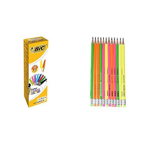 BIC Cristal 926381 penne multicolore, colori assortiti & STABILO swano fluo matita in grafite con gommino Giallo/Verde/Arancione/Rosa - Eco Pack da 12