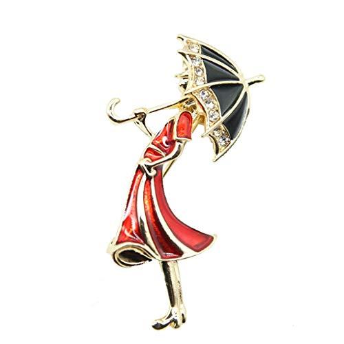 N/A. Mujer lindo de dibujos animados rojo vestido niña con forma de paraguas broches, mini pines insignia esmalte solapa Pin de fiesta chaquetas suéter decoración accesorio