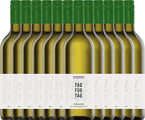 VINELLO 12er Weinpaket Weißwein - Tag für Tag Scheurebe halbtrocken 1,0 l 2019 - Frankhof Weinkontor mit Weinausgießer   halbtrockener Weißwein   deutscher Sommerwein aus der Pfalz   12 x 1,00 Liter