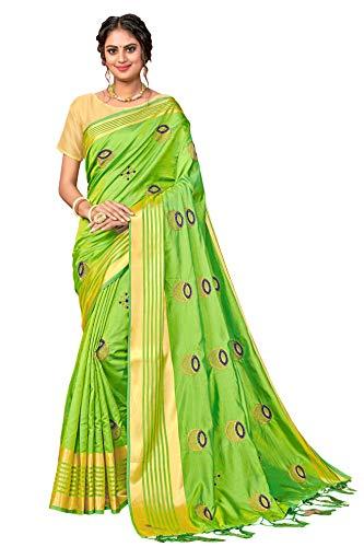 Sari mit Stickerei, für Damen, indischer Hochzeits- und Partybekleidung, Sari mit ungenähter Bluse - - Einheitsgröße
