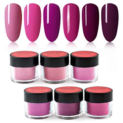 Honey Joy 6 BOX/SET Rose Pink Dip Powder Nails Kit Hot Pink Nail Fine Dipping Powder Colors No Need Lamp Cure,Like Gel Polish Effect,Even & Smooth Finishing (DP-B-6pcs-10g/box)