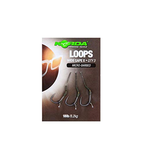 Korda Loop Rigs DF Wide Gape X 18lbs - 3 Karpfen Rigs zum Karpfenangeln, Karpfenrigs, Karpfenmontagen, Karpfenvorfächer, Größe:4