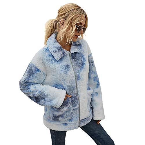 TURMIN Donna Tie Dye Felpa Morbido Teddy Cappotto in Pile Giacca Casual Sherpa Pullover con Zip Accogliente Top Caldo Maglione Capispalla per l'inverno-Azzurro-XL