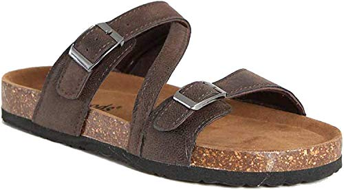 OUTWOODS Bork-56 Women's Strappy Buckle Slide Sandals (7 B(M) US, Brown-Nubuck)