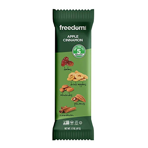 Freedom Bar, All Natural Protein Bars, Apple Cinnamon Nut Bar - Dairy and Gluten Free Bars - Kosher and Paleo Snacks, Box of 15 (1.7 Oz Each) Fruit and Nut Bars