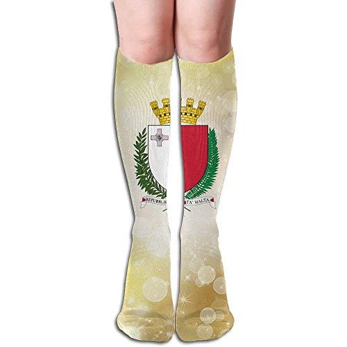 hgfyef Dnim Coat Of Arms Of Malta Design Elastic Blend Long Socks Compression Knee High Socks (50cm) For Sports