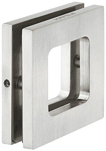 Design Möbelgriff Edelstahl matt Glastürgriff zum Schrauben Muschelgriff eckig für Glastüren - Modell H8505 | Griffmuschel zum Aufkleben | 70 x 70 x 10 mm | Möbelbeschläge von GedoTec®