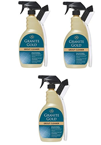 Granite Gold Grout Cleaner And Scrub Brush - Acid-Free Tile And Grout Cleaning For Dirt, Mildew, Mold - 24 Ounces (3 pack)