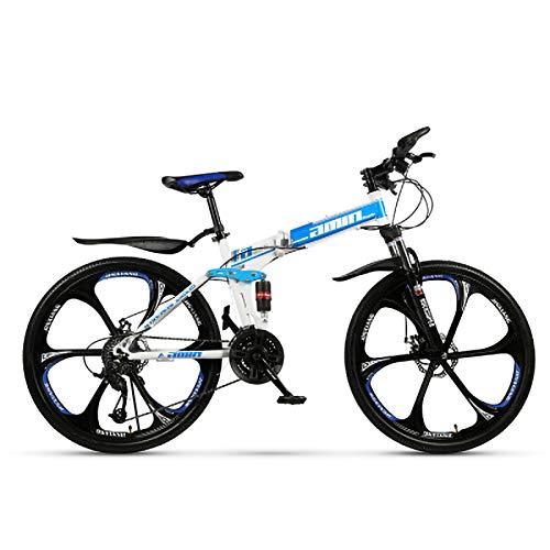 24 Pulgadas Chico Bicicleta de Montaña, Rueda Integrada de 6 Cuchillas Plegable Bicicletas de Acero Al Carbono,Doble Choque Velocidad Variable Bicicleta,Unisexo,Azul,24in (27 Speed)