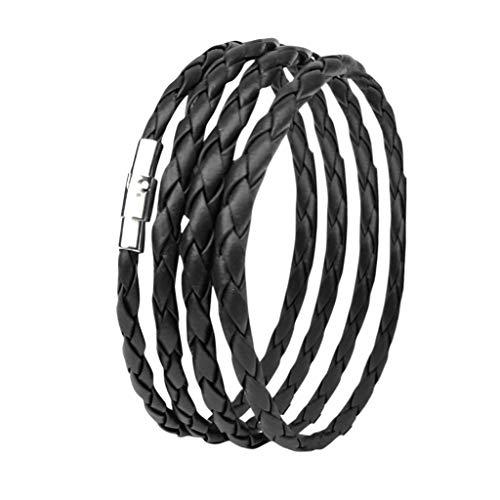 ZYUEER Damen-Armband-Armband-personalisierte Reine Farbe, Liebhaber, Schwarze Borten-Lederarmbänder, Exquisit Valentinstag Vorhanden (Schwarz)