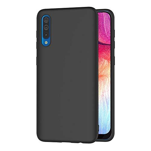 AICEK Coque Samsung Galaxy A50, Noir Silicone Coque pour Samsung A50 Housse Galaxy A50 Noir Silicone Etui Case (6,4 Pouces)