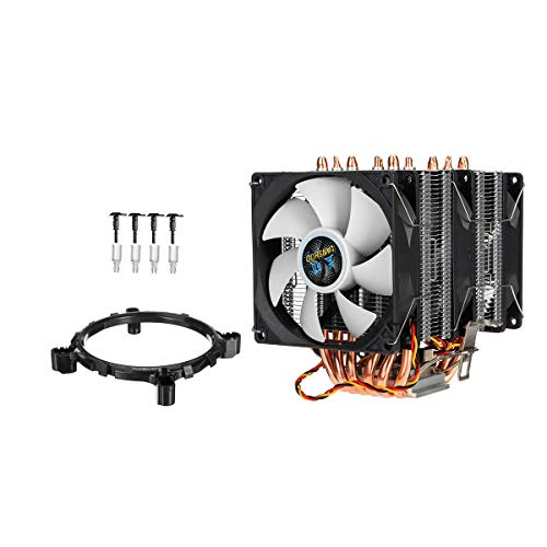 RLJJCS Torre Treble CPU Cooler 3 Escalofriante Ventilador de Calor Radiador para LGA 775/1155 / 1366AMD (Color : White)