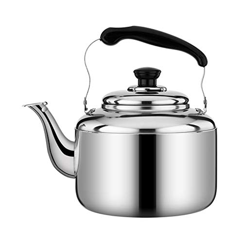 Camping Coffee Pot, Stainless Steel Tea Kettle for Stove Top Whistling-Large Capacity Teapot with Ergonomic Handle Suitable for Kitchen Restaurant (Color : Silver, Size : 6L)
