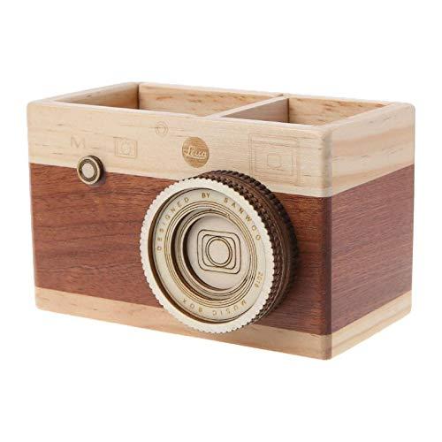 Soporte para bolígrafos, diseño de cámara creativa, de madera, para lápices, soporte de escritorio, caja de almacenamiento, multiusos, L