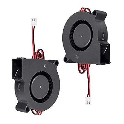 Furiga 3D Printer Fan 24V DC 50X50X15mm 5015 Blower Radial Cooling Fan 1M Cable for Heat Sink 2PCS